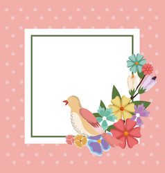 Spring card bird flower frame decoration vector