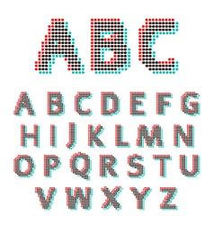 Stereoscopic circles font vector