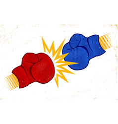 two boxing gloves in engraving style vector image vector image