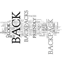 what to look for in a backpack text word cloud vector image vector image