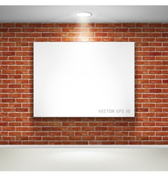 Gallery exhibition picture frames on brick wall vector