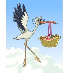 Cartoon stork carries a basket with a newborn baby vector