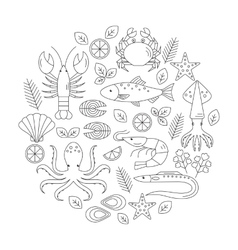 Seafood flat line icons set vector