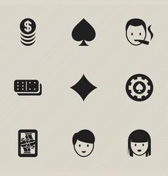 Set of 9 editable gambling icons includes symbols vector