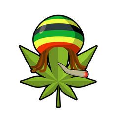 Leaf marijuana and reggae cap with dreadlocks vector