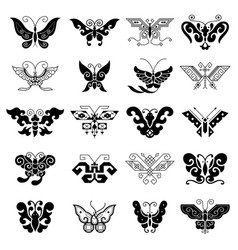 Collection of various black butterflies vector