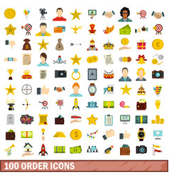 100 order icons set flat style vector