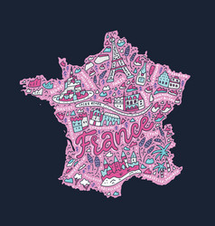 handdrawn map of france vector image