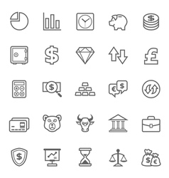 Set of Outline stroke Finance and Stock icon vector image