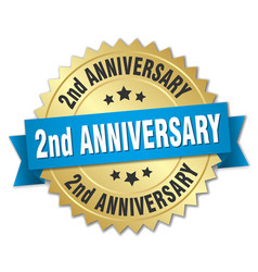 2nd anniversary round isolated gold badge vector image vector image