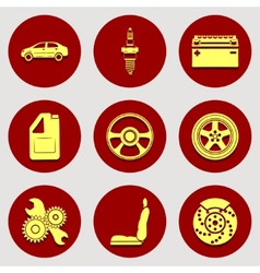 Set of icons auto parts flat design vector