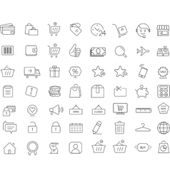 Shopping 64 icons set thin line design vector