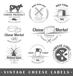 Set of vintage labels cheese vector