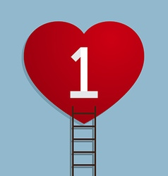 Heart with number one and ladder vector