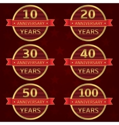Anniversary label set vector