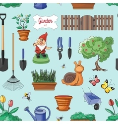 Gardening colorful pattern vector image
