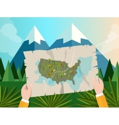 Hand holding map america tracking hunting in vector