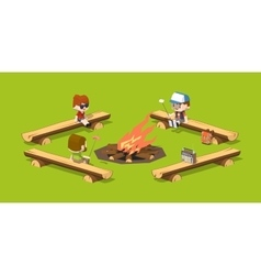 Low poly rough wooden benches around the campfire vector