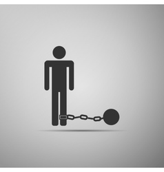 Prisoner with ball on chain icon vector