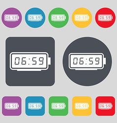 alarm clock icon sign A set of 12 colored buttons vector image