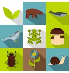 Beautiful nature icons set flat style vector