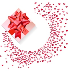 Box with red bow and confetti hearts on white vector image