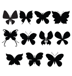 Butterfly silouettes vector