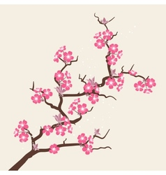 Card with stylized cherry blossom flowers vector image vector image