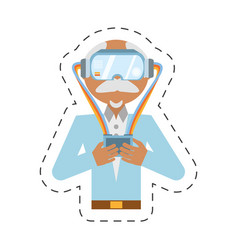 Cartoon man with vr goggles control vector