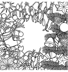 christmas outline composition vector image