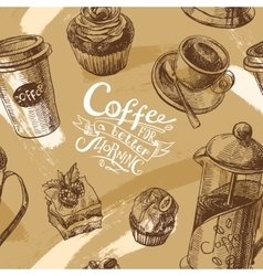 coffee sketch vector image vector image