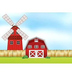 Farm scene with windmill and barn vector image vector image