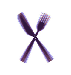 Fork and knife sign colorful icon shaked vector
