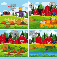 Fresh vegetables in the farms vector