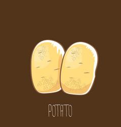 funny cartoon cute brown potatoes set vector image