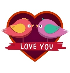 Heart shaped frame and cute inlove birds vector image