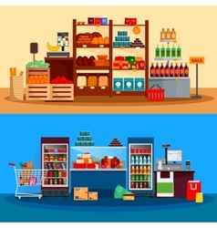 Interior of supermarket banners vector