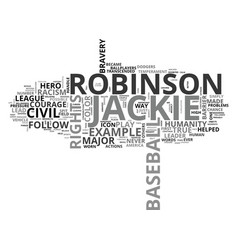 Jackie robinson a civil rights hero text vector