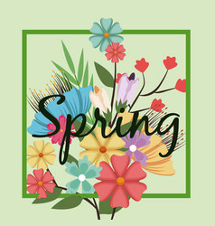 lettering spring time on background with spring vector image