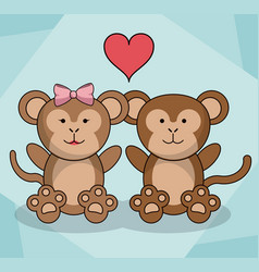 Loving couple monkey animal baby heart decoration vector