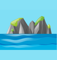 Nature scene with moutain and ocean vector