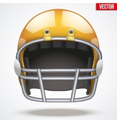 Realistic Orange American football helmet Front vector image