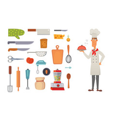 set kitchen shelves and cooking utensils vector image