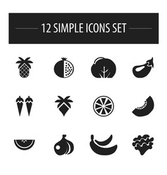 set of 12 editable fruits icons includes symbols vector image vector image