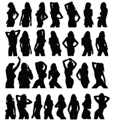 sexy girl black silhouette set vector image