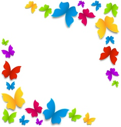 Spring background with painted butterflies border vector