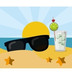 Vacation beach sunglasses cocktail sun sand vector