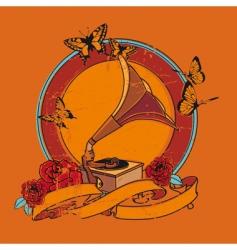 vintage gramophone background vector image vector image
