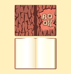 Wooden book cover and open format book vector image vector image
