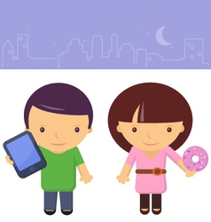 Yuppie boy and girl vector